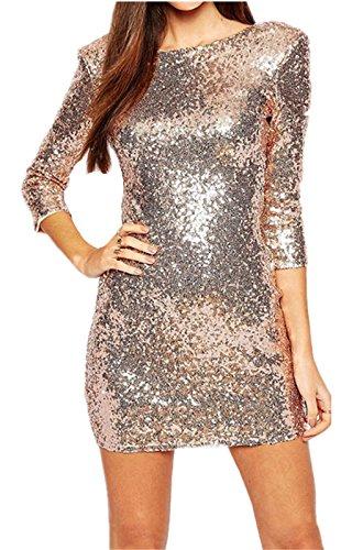 Sexy Splendente GlitterateSparkly Paillettes e decorati Paillettes e decorati Low Schiena Sul Rétro Bodycon Fascianti Aderente Mini Corti Corto Rosa Vestito Abito S