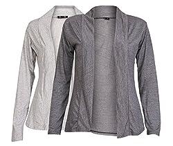 Ten on Ten Women's Pair of Grey/ Carbon Grey Long Shrug