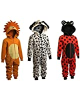 Childrens Boys and Girls Onesie Fluffy Fleece Animal Dalmations or Ladybird in Kids Age 2 - 11 years (10-11 years, Red Ladybird)