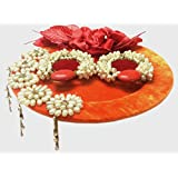 Loops N Knots Orange Velvet Wedding/Engagement Ring Platter/TrayWith 2 Rings Holders