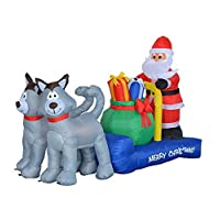 7 Foot Long Christmas Inflatable Santa Claus on Sleigh with Husky Decoration