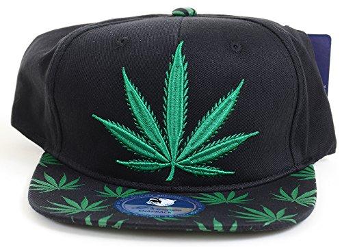 [Marijuana Pot Leaf KUSH Snapback Rasta Baseball Hat - GREEN] (Ethnic Hats)