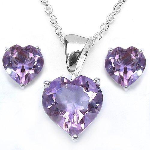 Jewelry-Schmidt-Elegant amethyst heart-SET 4-piece silver-6, 65 carat