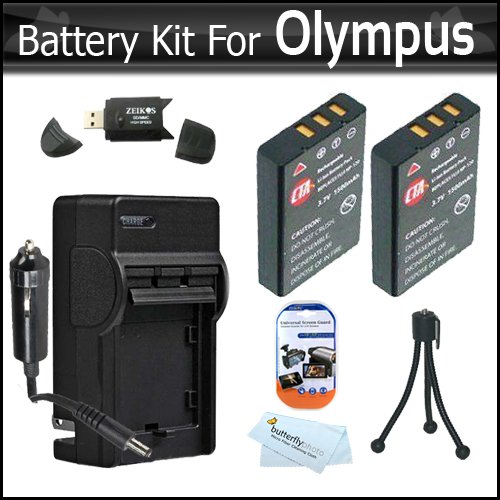 2 Pack Battery And Charger Kit For Olympus VR-340, SZ-12, XZ-1 SZ-10 SZ-20 SZ-30MR SP-800UZ SP-810UZ SZ-11 SZ-31MR iHS Digital Camera Includes 2 Extended (1000maH) Replacement LI-50B Batteries + AC/DC Charger + LCD Screen Protectors + Mini Tripod + More