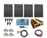 WindyNation Complete 400 Watt Solar Panel Kit with 1500 Watt VertaMax Power Inverter RV, Boat, Off-Grid 12 Volt Battery