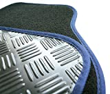 Nissan Note (2013 Onwards) Perfect Fit Black Carpet with Navy Blue Trim Car Mats - Heavy Duty Rubber Heel Pad