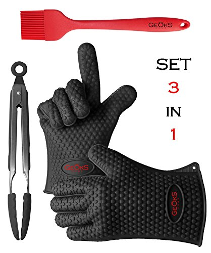 Kitchen & Grill / BBQ Silicone Set 3 in 1 Best Quality Heat Resistant - Black Gloves, Stainless steel Food Tongs with Tips and Red Basting Brush - Accessories for Indoor & Outdoor Cooking Needs (Silicone Bbq Gloves Black compare prices)
