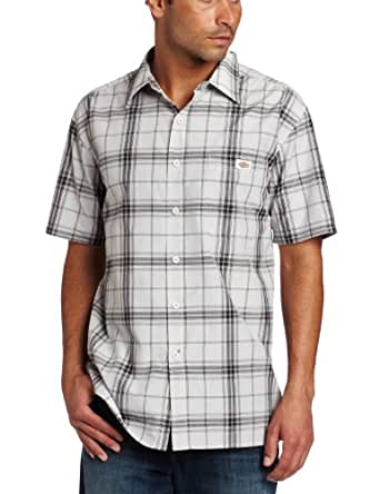 Dickies Men's Short Sleeve Square Bottom Plaid Shirt, Glacier, Medium
