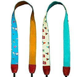 India Film Project Vintage And Retro Camera Strap for DSLR Cameras (White and Blue, Pack of 2)