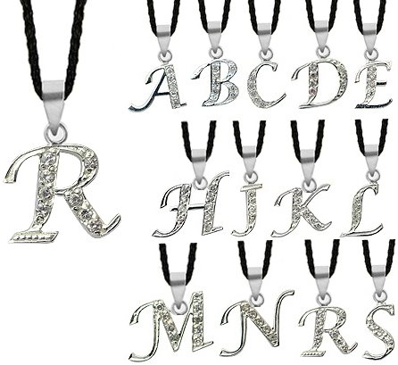 Cute Alphabet Silver Pendants R - Pendant size is about 3/4' (18MM) - Comes with 16 inch Japanese silk cord necklace with silver clasp & fittings - Hand set with quality CZ crystals. Beautifully designed and hand polished to a very high jewellery standard. Packed in a velvet pouch