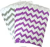 Outside the Box Papers Chevron Treat Sacks 5.5 x 7.5 48 Pack Lilac, Silver, White