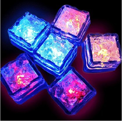Royalstyle Set Of 12 Food Grade Plastic Reusable Fake Decorative Led Glow Light Up Ice Cubes Rocks Water Submersible For Party Wedding Club Bar Champagne Tower Decoration