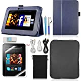 Llamamia Kindle Fire Hd 7 Leather Case Cover Bundle in Retail Packaging-leather Case + Car Charger + Cable + Bag + Screen Protector+ Stylus Pen (Dark blue, Kindle fire HD 7)