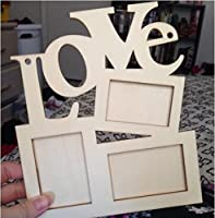 Drhob Hollow Love Wooden Family Photo Picture Frame Rahmen(wood color) Base Art DIY Home Decor by Drhob