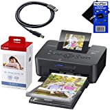 """Canon SELPHY CP910 Black Portable Wireless Compact Photo Color Printer + Canon KP-108IN Color Ink Paper Set (Produces up to 108 of 4 x 6"""" prints), USB Printer Cable + HeroFiber® Ultra Gentle Cleaning Cloth"""