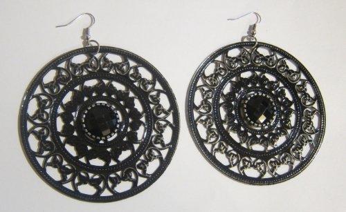 Jet Black Etched Filigree Hoop Earrings with Black Rhinestone