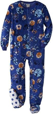 Komar Kids Big Boys' Team Sports Footed Pajama, Royal, Large