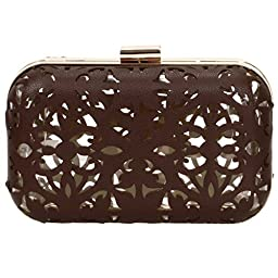 BMC Matte Chocolate Brown Cut Out Faux Leather Covered See Through Clear Plastic Hard Case Fashion Handbag Clutch