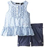 Calvin Klein Baby Girls' Blue Printed Top with Denim Shorts