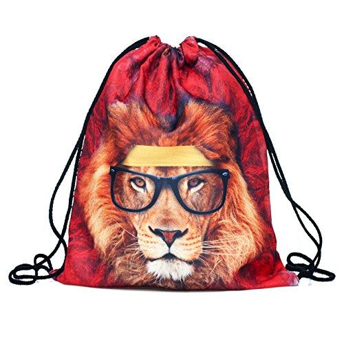 "Youth designz Turn sacchetto-oltre 30modelli diversi & motivo con Fullprint ""-Sacca sportiva borsa a sacco Juta Fashion Hipster LION WAYFARER Taglia unica"