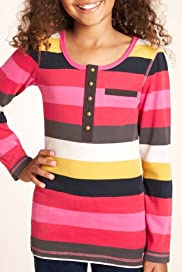Pure Cotton Scoop Neck Brush Stripe Tunic [T74-0307P-S]