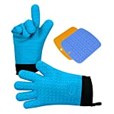 CoolFriend Grilling Gloves, Heat Resistant Gloves BBQ Kitchen Silicone Oven Mitts, Long Waterproof Non-slip Potholder for Barbecue, Cooking, Baking (Blue)
