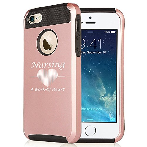 Apple-iPhone-6-Plus-6s-Plus-Rose-Gold-Shockproof-Impact-Hard-Case-Cover-Nursing-A-Work-of-Heart-Nurse