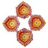 Store Utsav Diya Terracotta Orange With Pink Border - A Set Of 4