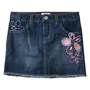 Girls' Circo® Blue Medium Wash Embroidery Jean Skirt