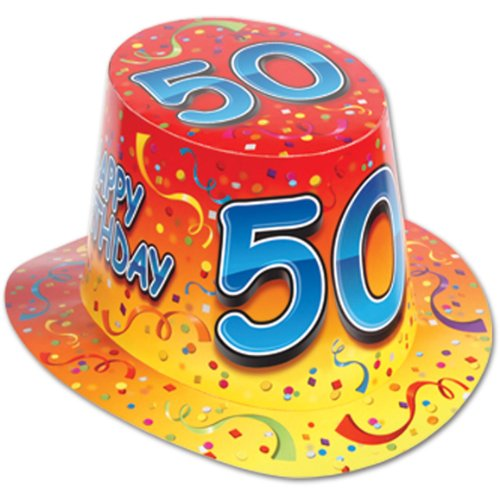 "Happy ""50"" Birthday (Yellow/Red) Hi-Hat Party Accessory"