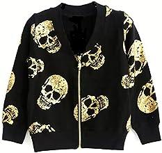 ASL Little Girls Golden Skulls Zipper Round Collar Jackets Coats