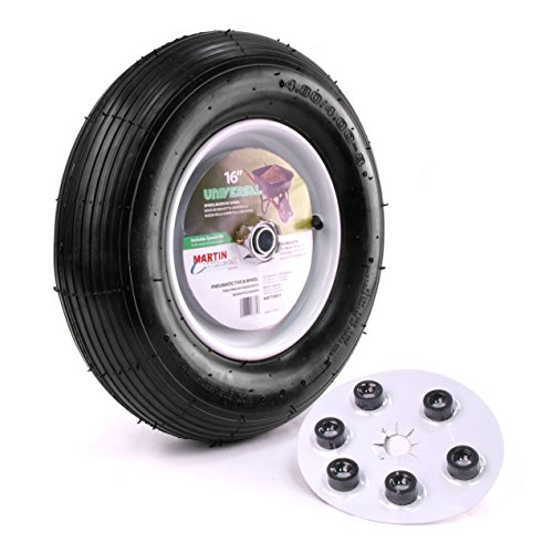 Martin Wheel 480/400-8 16″ Pneumatic Wheelbarrow Wheel 6×5/8″ Hub