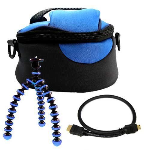 Blue Durable Plush Protective Carrying Camera Case for JVC GZ-MG680 GZ-MG670 GZ-HD320 GZ HM 550 GZ HD 500 Camcorder + HDMI Mini Cable + Flexible Sturdy Tripod