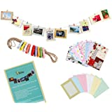 "Bundle Monster Wall Deco DIY Paper Photo Frame with Mini Clothespins and Stickers - Fits 4""x 6"" Pictures"