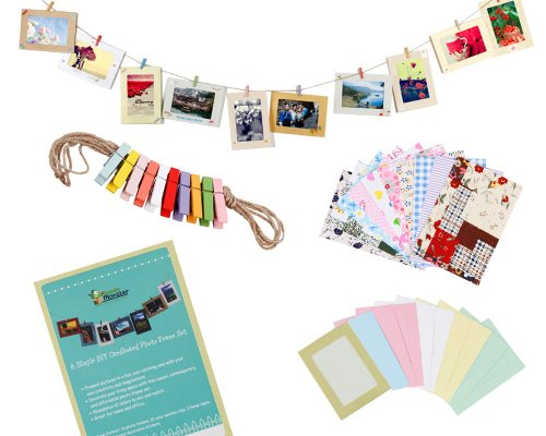 Bundle Monster Wall Deco DIY Paper Photo Frame with Mini Clothespins and Stickers – Fits 4″x 6″ Pictures (1, Multi-color)
