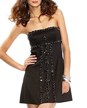 bebe.com : Beaded Flowers Strapless Dress :  fashion dress dresses clothing