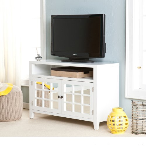 Contemporary mirror front white wood tv console pesiloda