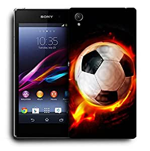 Snoogg Football On Fire Designer Protective Back Case Cover For SONY Z3