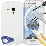 ITALKonline Samsung i8190 Galaxy S3 Mini White TPU S Line Wave Hybrid Gel Skin Case Protective Jelly Cover with Tempered Glass Protective LCD Screen Protector