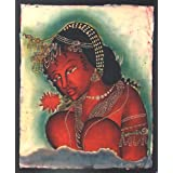 "Dolls Of India ""Ajanta Female Bodhisattva With Red Flower"" Batik Painting On Cotton Cloth - Unframed (39.37 X..."