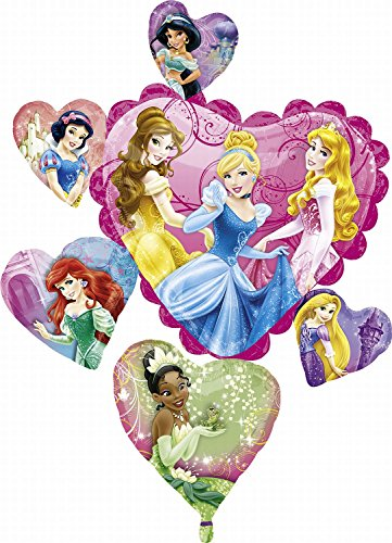 "Disney Princess Hearts Cluster Super Shape 34"" Mylar Foil Balloon - 1"