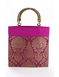 Evokriti Brocade Bag With Crafted Metal Handles