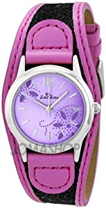 Zou Zou Purple with Flower Design Dial Pink Faux Leather and Fabric Ladies Watch ZRT6009