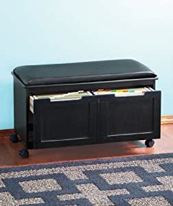 CUSHIONED BENCH WITH FILE STORAGE FOR HOME OR OFFICE - BLACK