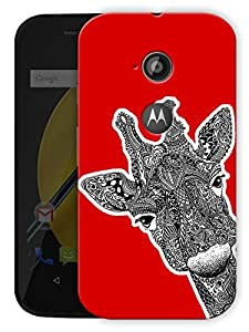 "Giraffe Tribal Art - Red Printed Designer Mobile Back Cover For ""Motorola Moto E2"" By Humor Gang (3D, Matte Finish, Premium Quality, Protective Snap On Slim Hard Phone Case, Multi Color)"