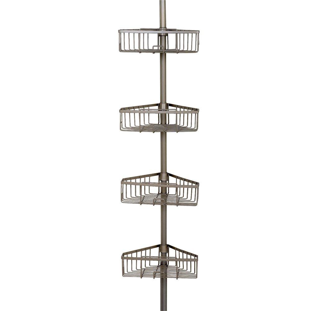 Zenna Home 2131NN, Tension Corner Pole Caddy, Satin Nickel