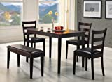 5pc Dining Table, Chairs and Bench Set Cappuccino Finish