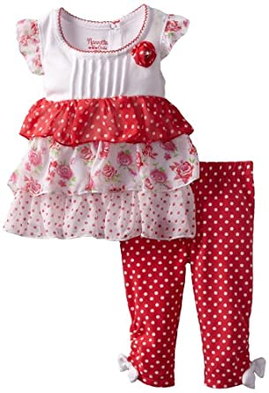 Nannette Baby-girls Infant 2 Piece Polka Dot Legging Set, Red, 18 Months