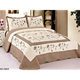3pc Beige / Taupe Very Soft Fully Quilted Embroidery Bedspread Bed Coverlets Cover Set , Queen King