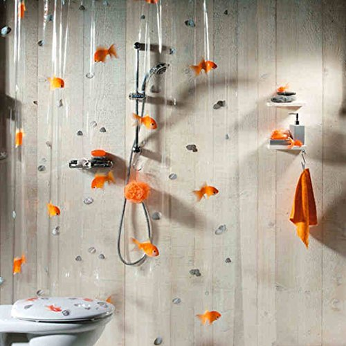 Spirella 3d Goldfish PVC Transparent Waterproof Shower Curtain, Swiss Design Cartoon Shower Curtain, 180cm*200cm